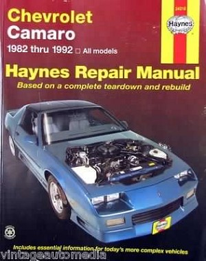 Haynes Repair Manual Camaro 1982-1992